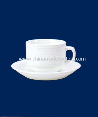 WHITE PORCELAIN COFFEE CUP(210ML) AND SAUCER
