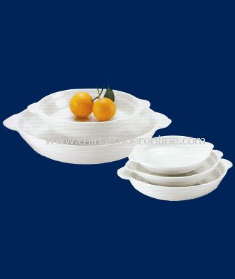WHITE PORCELAIN ROUND EARED DISH