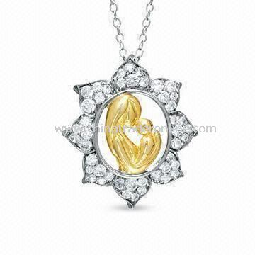 Alloy Special Mothers Day Gift Motherly Love Pendant Necklace with Rhodium Finish