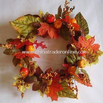 Artificial Autumn Colors Harvest Wreath with Pumpkins, Gourds and Berry Springs
