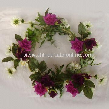 Artificial Spring Wreath, Available in Different Designs, Colors, and Sizes, OEM Orders are Accepted