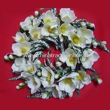 Artificial Spring Wreath, Comes in Various Designs, Colors, and Sizes, OEM Orders are Welcome