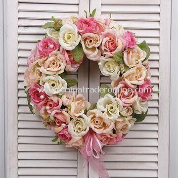 Artificial Spring Wreaths, Comes in Various Designs, Colors, and Sizes, OEM Orders are Accepted