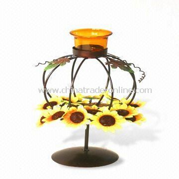 Candle Holder in Pumpkin Design, Measures 15 x 15 x 28cm, Suitable for Thanksgiving Day