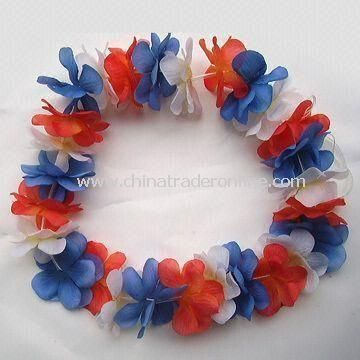 Colorful Lei Flower Hawaii Wreath, Comes in Various Size, OEM Designs are Welcome