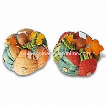 Eight-inch Fabric Pumpkin Decorations, Available in Two Kinds from China