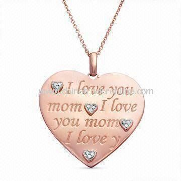 Heart Pendant Necklace, Suitable as Mothers Day Gift, Made of Alloy