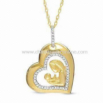 Heart Shaped Alloy Pendant Necklace with Crystal Stone, Suitable for Mothers Day Gift