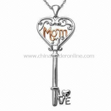 Heart-shaped Key Mom Pendant Necklace for Special Mothers Day Gift, with Crystal Stone