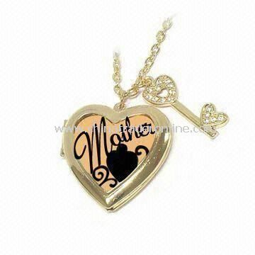 Mother and Crystal Decoration Key Charm Necklace with 30-inch Length