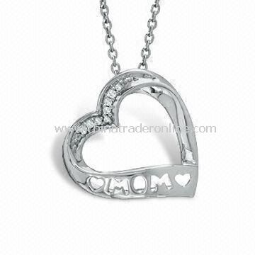 Mothers Day Gift of the Accent Mom Heart Pendant Necklace in Special Design