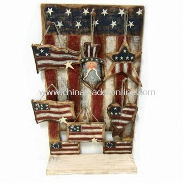Novelty Flag for Thanksgiving Decoration, Made of Wood, Measuring 36 x 1.2 x 32cm