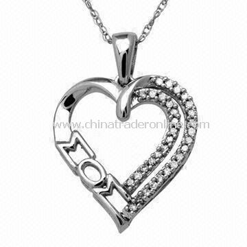 Open Heart Pendant Necklace, Ideal Gift for Mothers Day, with Crystal Stone