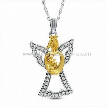 Pendant Necklace with Crystal Stone, Suitable for Mothers Day Gift, Made of Alloy