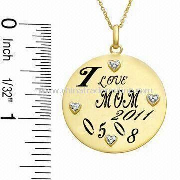Pendent Necklace for Mothers Day Gift with Yellow Flash-plating, Made of Alloy