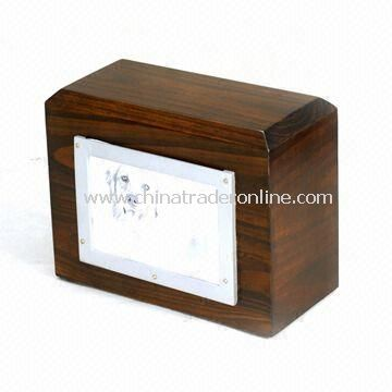 Pet Memorial Urn, Made of Dark Walnut Real Wood, with Photo Frame