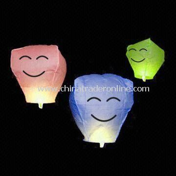 Sky Lantern, Made of Flame-resistant Paper, Customized Designs are Welcome