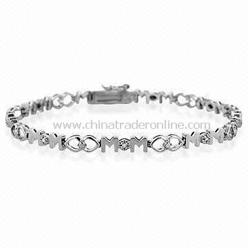 Special Mothers Day Gift Bracelet, Made of Alloy, Rhodium Finishing