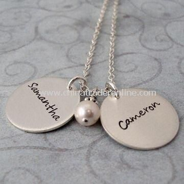 Special Mothers Day Gift of the Double Charms Name Necklace, Available in Silver