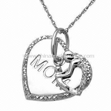 Special Mothers Day Gift of the Mom Heart Pendant Necklace, Available in Silver