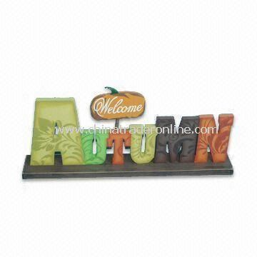 Wooden Word Tabletop, Measures 38.5 x 5 x 16cm, Suitable for Autumn Decoration