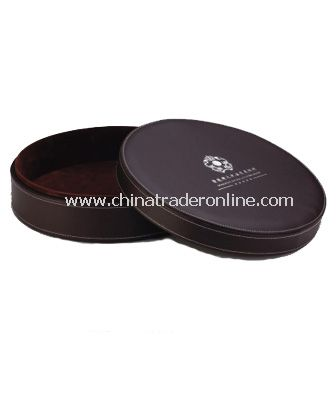 SYNTHETIC LEATHER ROUND SERVICE TRAY