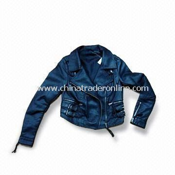 Girls Motorcycle PU Jacket with Garment Enzyme Wash and Crinkle Effec