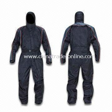 One-piece Rain Suit with Built-in Helmet Hood and PVC Coating