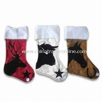 12 x 12cm Plush Christmas Stocking with EN71 Certification, Available in Various Designs