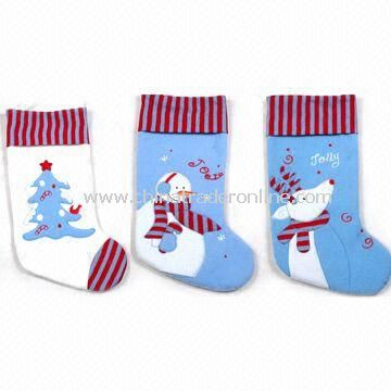 21-inch Novelty Stocking, Tree/Snowman and Reindeer Embroidery