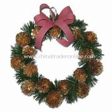 30cm Pine Cone Wreath with Pine Leaves, Decorated with Checkered Red Ribbon