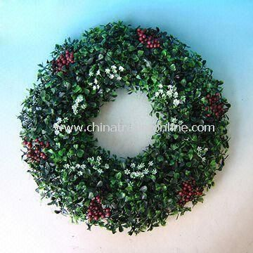 Boxwood Wreath with 41cm Diameter, Made of Plastic