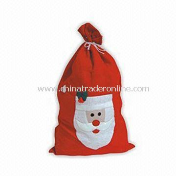Christmas Bag, Available in Red with Decoration, Made of Non-woven Fabric