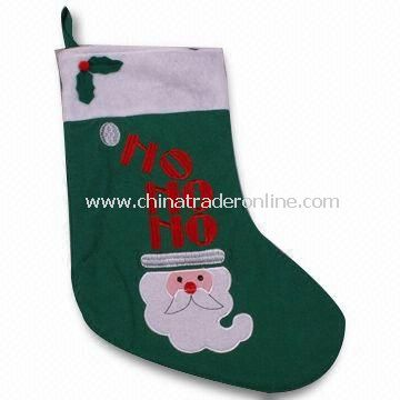 Christmas Felt Stocking with Embroidery, Measures 19 Inches