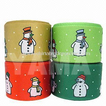 Christmas Ribbon with Snowman Pattern, Perfect for Christmas Day Garment Decoration