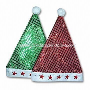 Christmas Santa Hat with Braids, Customized Logos are Accepted, Available in Various Sizes