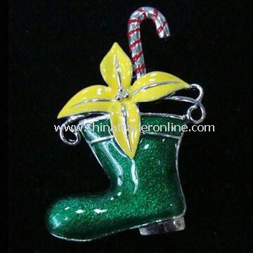Christmas Stocking, Made of Alloy, Enamel and Rhinestone, OEM Orders are Welcome