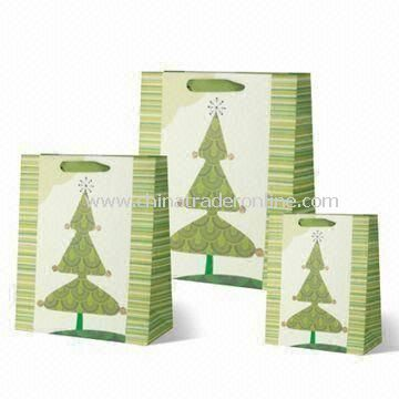 Christmas Tree-designed Shopping Bag in Various Colors and 3 Standard Sizes, with 4C Offset Printing