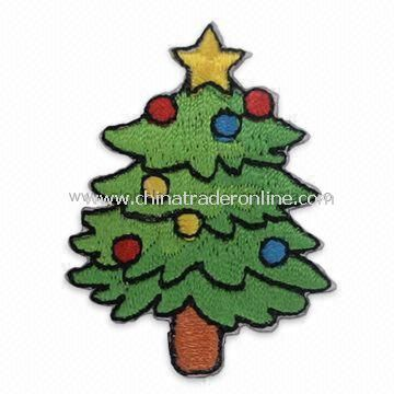 Christmas Tree Embroidered Patch, Used for Apparel, Garments, Homespun Fabric, and Room Ornaments
