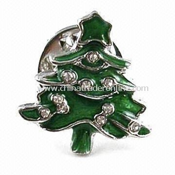 Christmas Tree-shape Lapel Pin in Green with Stone Decoration, Nickel/Lead-free