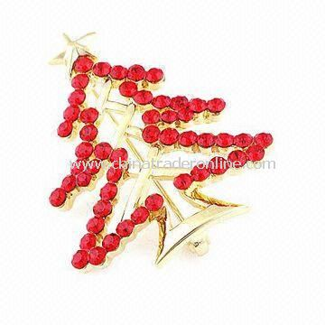 Christmas Tree-shaped Brooch, Made of Rhinestone and Zinc Alloy, Customized Designs are Accepted