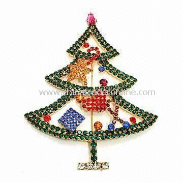 Christmas Tree-shaped Brooch with Nickel-free Feature, Made of Rhinestone