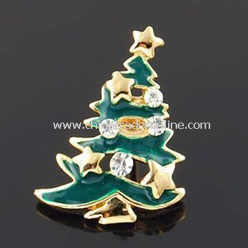 Christmas Tree Shaped Brooch with Rhinestone and Enamel, Available in Various Colors and Designs
