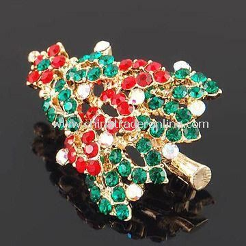 Christmas Tree Shaped Brooch with Rhinestones, Suitable for Promotional Gift Purpose