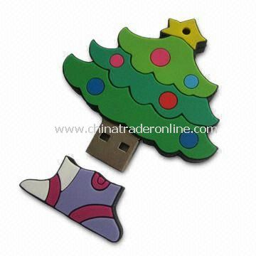 Christmas Tree-shaped PVC USB Flash Drive with 64MB to 4GB Memory Capacity from China
