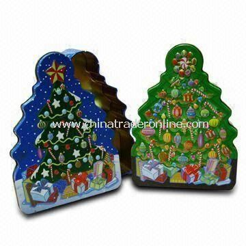 Christmas Tree-shaped Tin, Measures 190 x 140 x 45 (H) mm, Good Choice for Christmas Gifts