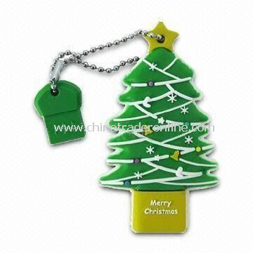 Christmas Tree USB Flash Drive, Complies with USB 1.1/2.0 Technology Standards