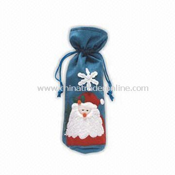 Christmas Wine Cover, Available in Blue with Santa Decoration, Made of Non-woven