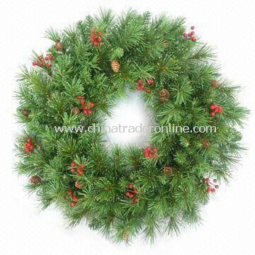 Decorated Fiber Wreath with Poinsettias and LED Lights, Measures 24-inch