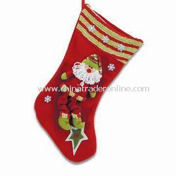 Fabric Christmas Stocking with Doll, Gift for Child, Eco-friendly, Traditional Designs and Colors from China